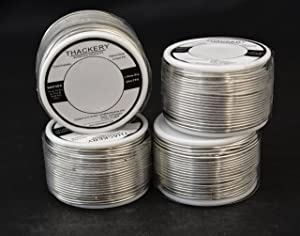 Thackery Silver Flux Core Solder Wire - SAC305 - available in 1mm and .8mm thickness - sold by the foot/meter (25m/75ft x 1mm Thickness) (Tamaño: 25m/75ft x 1mm Thickness)