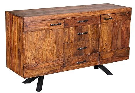 1PLUS Sheesham Massivholz Sideboard 145 x 45 x 82cm, Kommode, 2 Turen und 4 Schubladen