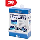 Premoistened Lens and Glass Cleaning Wipes - Portable Travel Cleaner for Glasses, Camera, Cell Phone, Smartphone, and Tablet - Disposable, Quick Drying, Streak Free - Individually Wrapped, Pack of 200 (Tamaño: 200 Count)