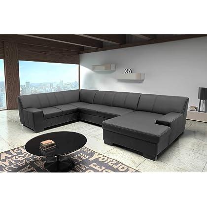 elegante Wohnlandschaft in U-Form schwarz Kontrastnaht 2,5er links – Recamiere rechts, ohne Bettfunktion bestellen