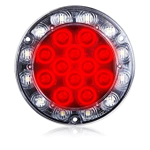 1 LED redondo Maxxima M85416R rojo/blanco funciona como parada, luz trasera, vuelta y luz de respaldo