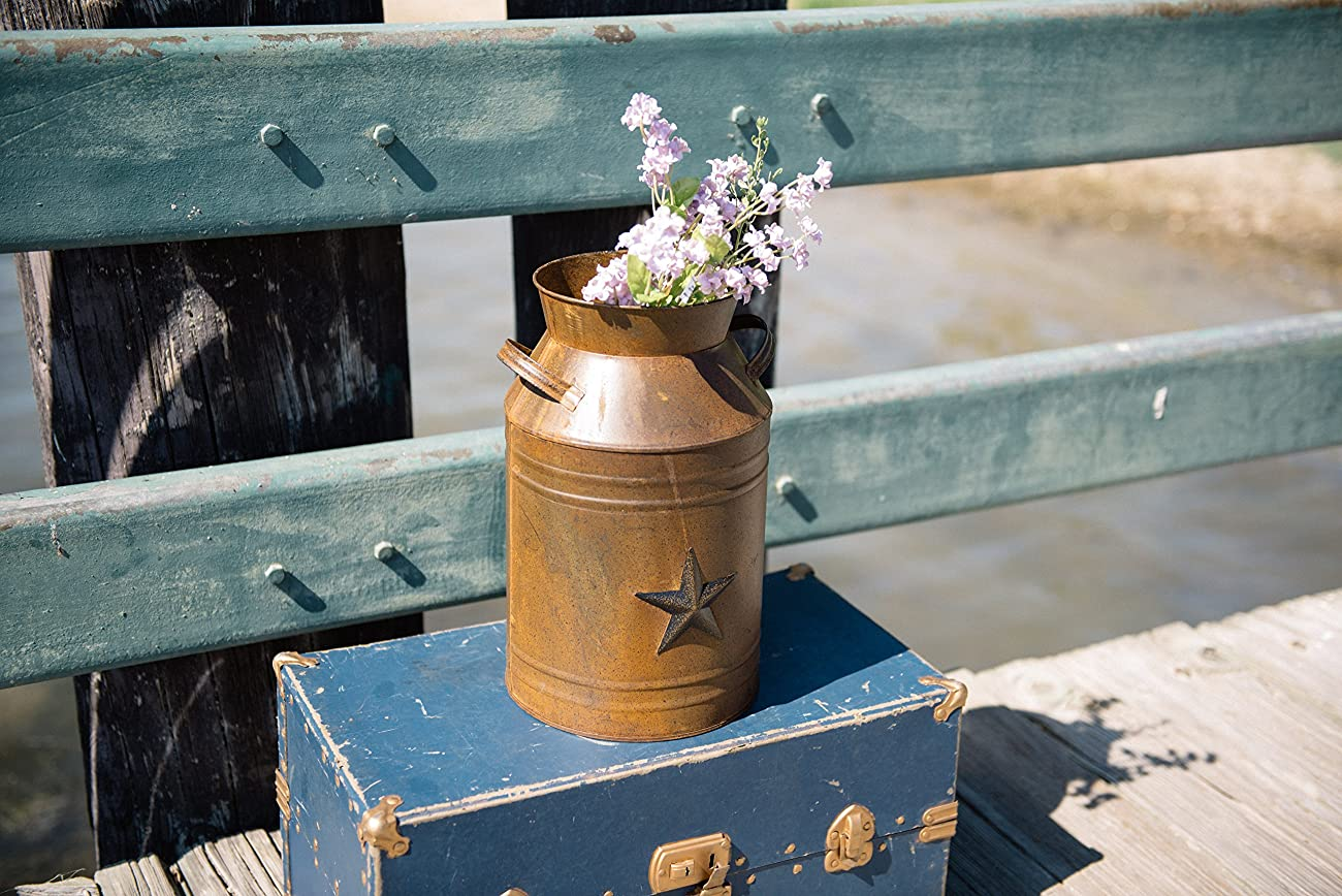 Craft Outlet Milk Can Container with Star Attached, 10.5-Inch, Rust 5