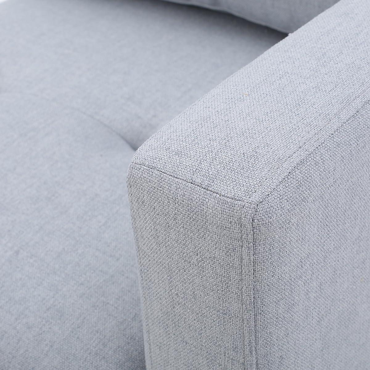 Carolina | Tufted Fabric Sectional Sofa | in Light Grey