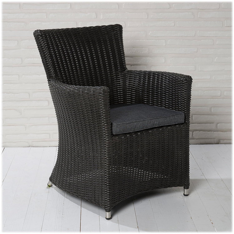 4 XL Korbsessel Gartensessel schwarz Gartenstühle Gartenmöbel Set Wintergarten online bestellen