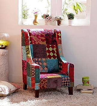 Legno Dekor Childern divano a 1posti, in panno Brasso patch di lavoro, colore noce, 45x 45x 70cms