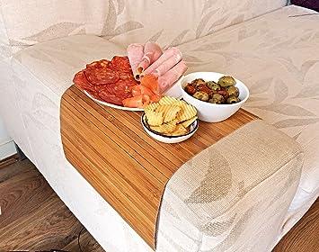 ablage tablett f r hocker oder longchair couch tablett flexibel lehnenschoner aus bambus. Black Bedroom Furniture Sets. Home Design Ideas