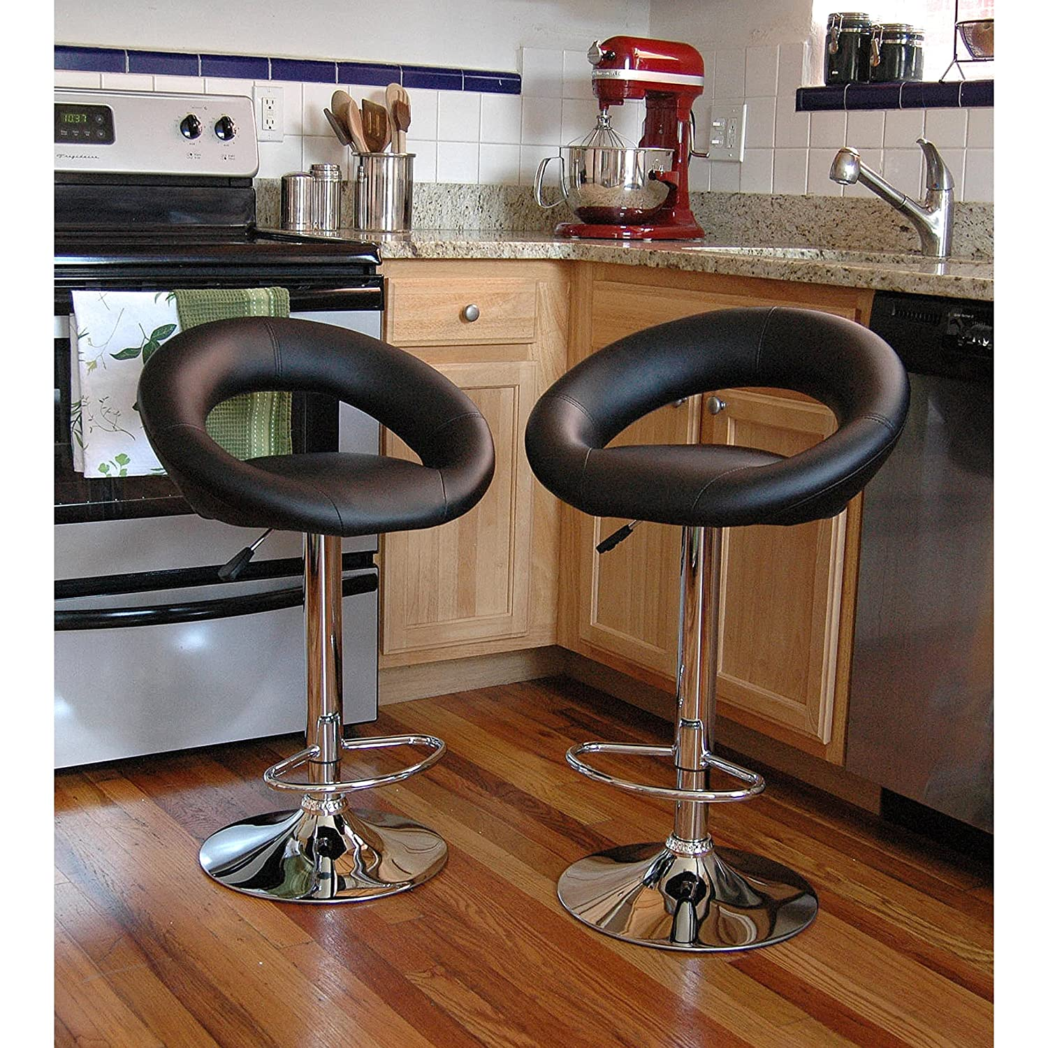 Bar Stool Set 2 Piece Adjustable Height Seat Chair Swivel