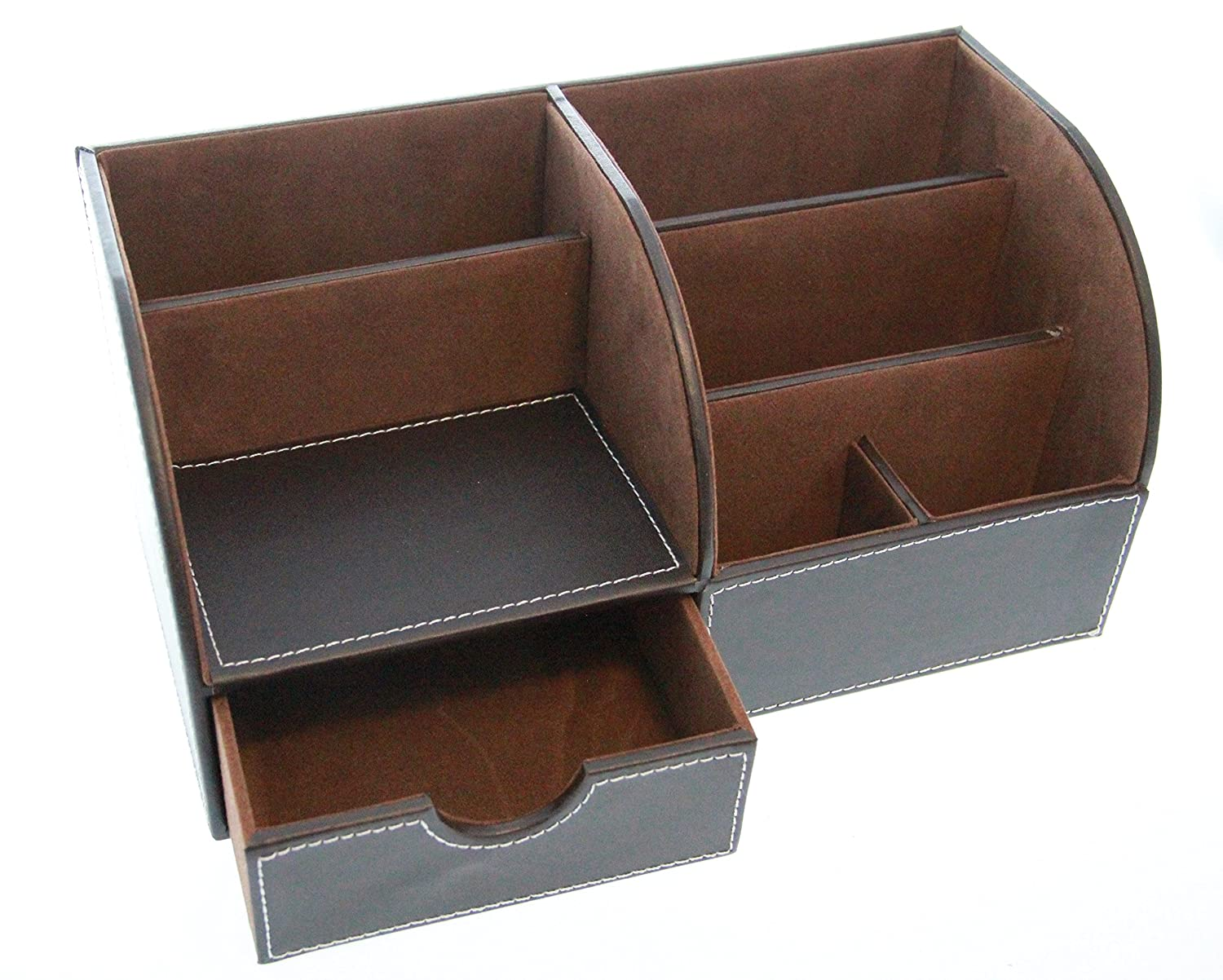 leather desktop supplies organizer drawer storage desk