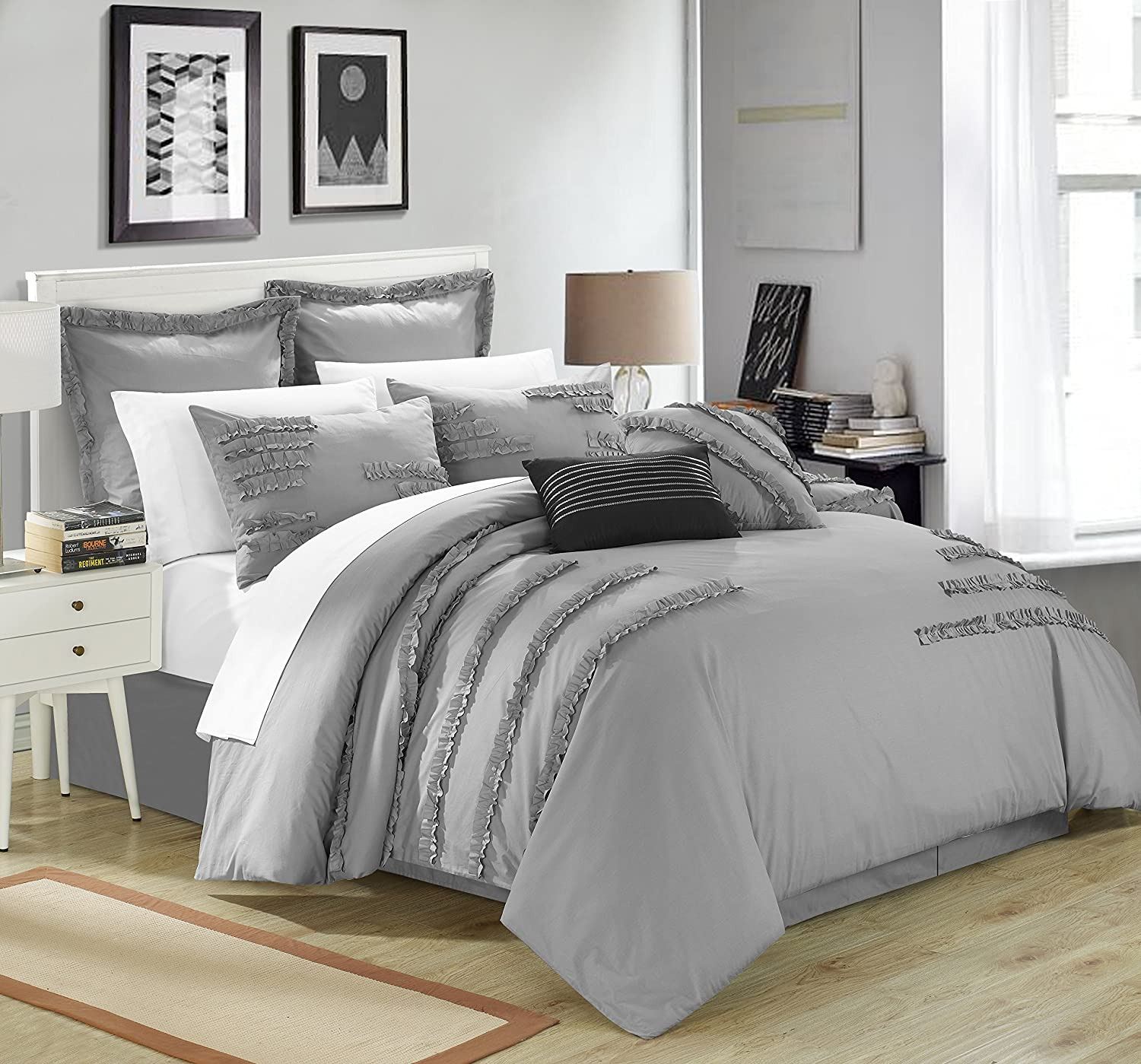 Chic Home 8 Piece Sweet Grass Geo Ruffled & Pleated Comforter Set, Queen, Grey
