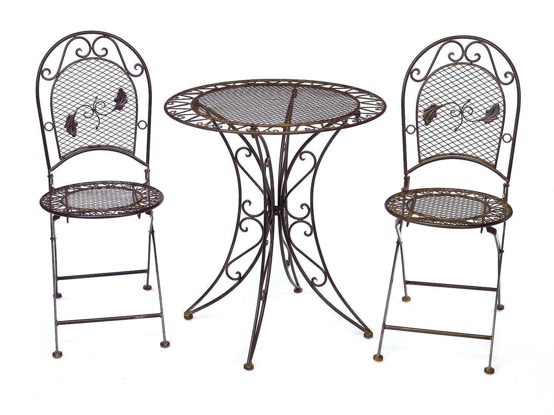 Gartentisch + 2x Stuhl Eisen antique style Gartenmöbel garden furniture braun jetzt kaufen