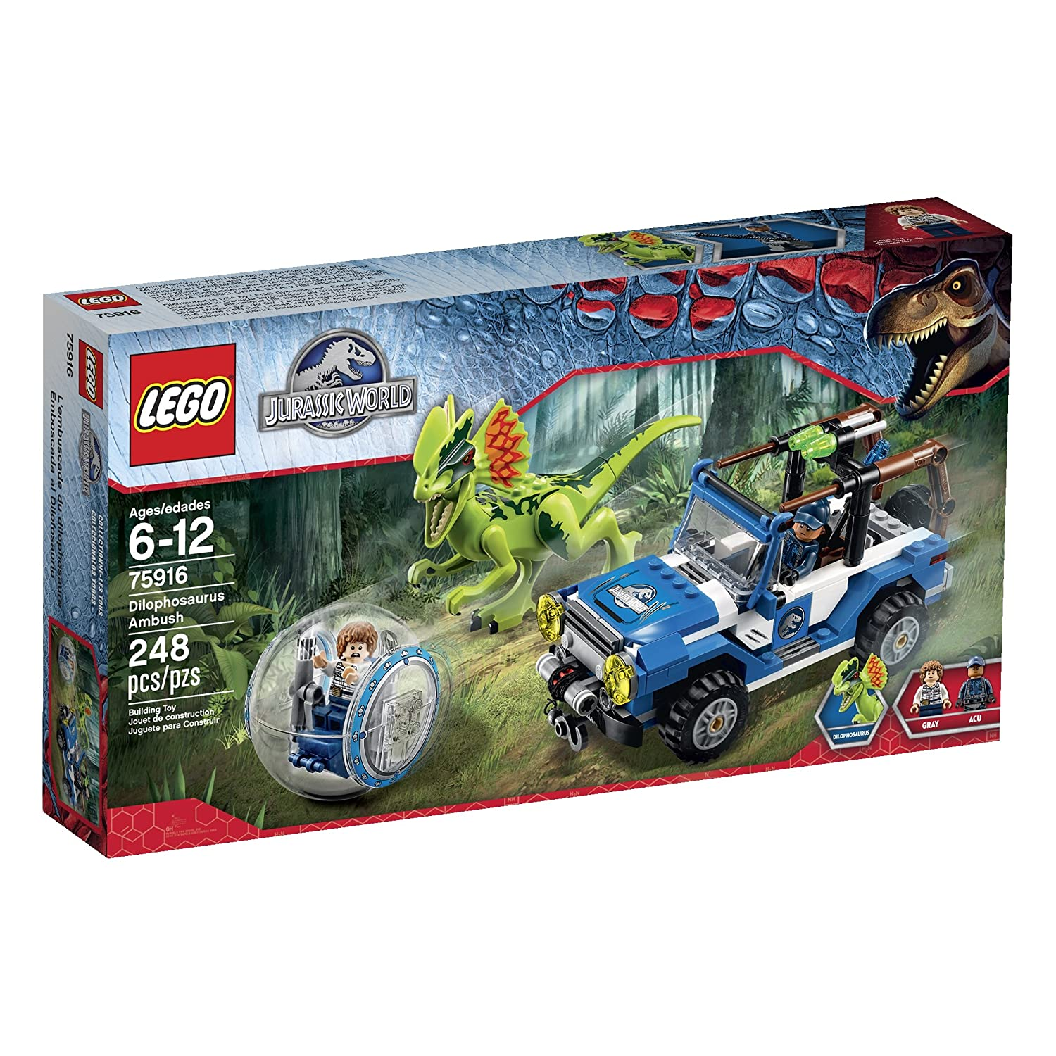 LEGO-Jurassic-World-Dilophosaurus-Ambush-75916-Building-Kit
