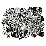 Black-and-White Sticker Vinyls Decals for Laptop,Kids,Cars,Motorcycle,Bicycle,Skateboard Luggage,Bumper Stickers Hippie Decals Bomb Waterproof(No-Repeat/Not Random) (C-100PCS) (Color: White, Tamaño: C-100PCS)