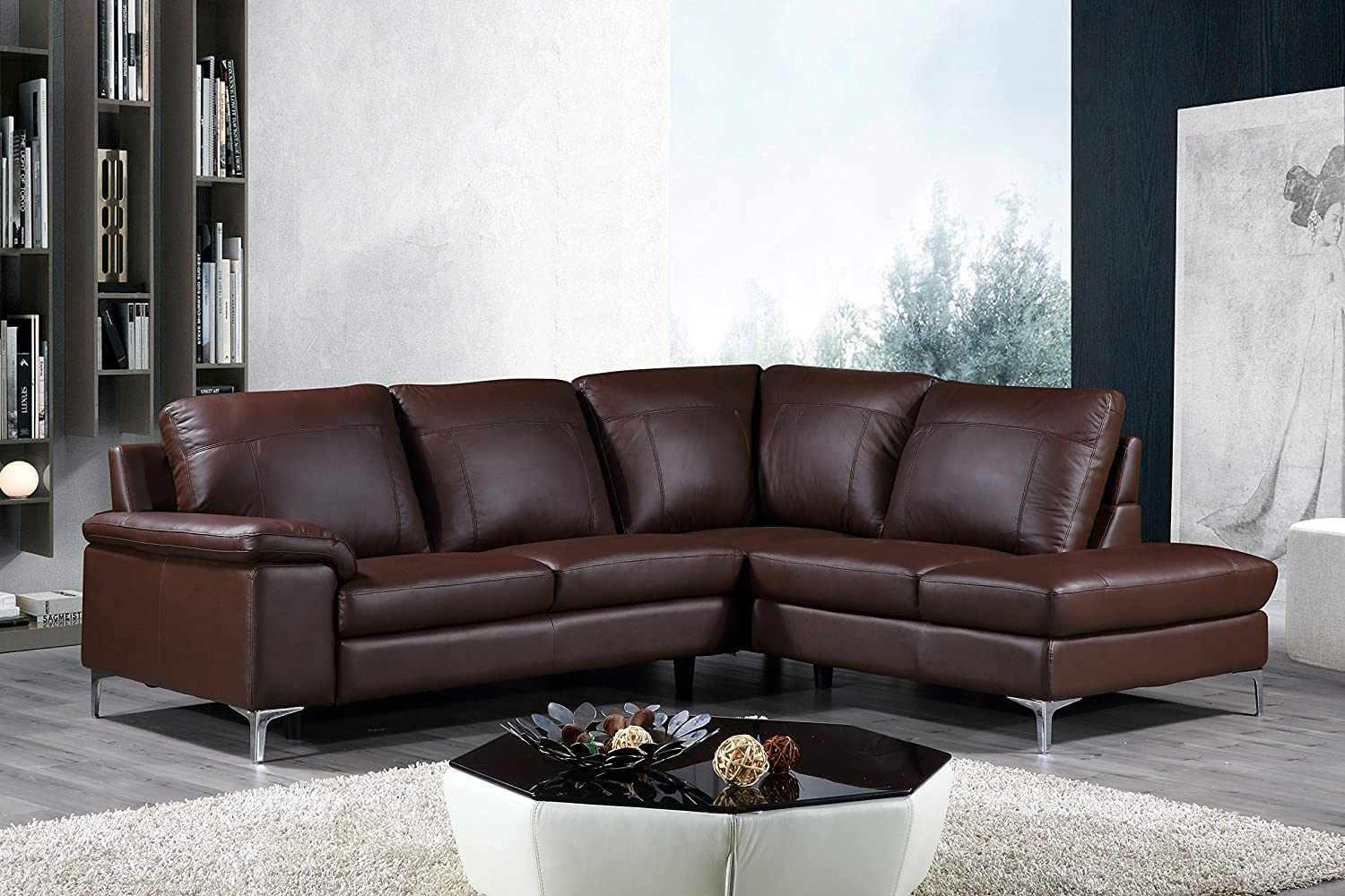 Cortesi Home Contemporary Dallas Genuine Leather Sectional Sofa with Right Chaise Lounge - Brown