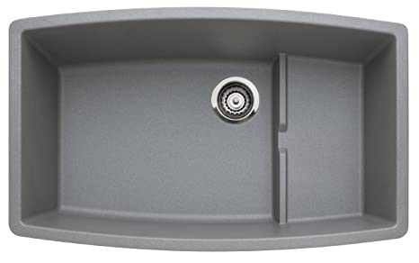 Blanco 440067 Performa Single-Basin Undermount Granite Kitchen Sink, Metallic Grey
