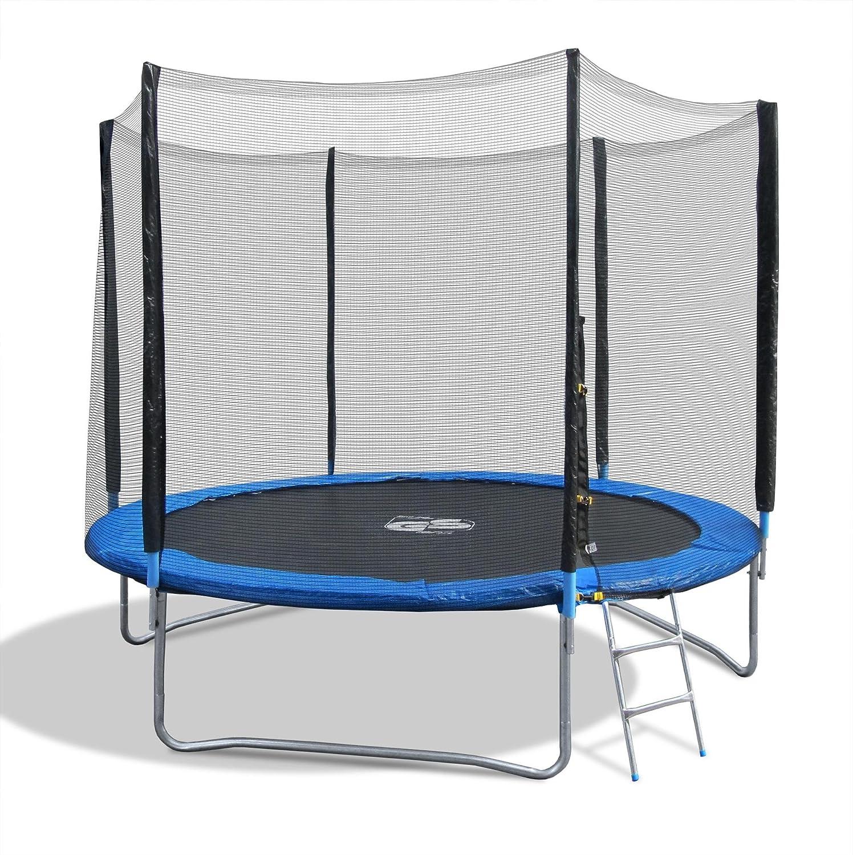 Trampolin, Gartentrampolin mit Sicherheitsnetz, 305 cm, blau-schwarz, mit Randabdeckung und Leiter günstig kaufen