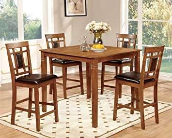 Furniture of America Lazio 5-Piece Transitional Pub Dining Set, Light Oak