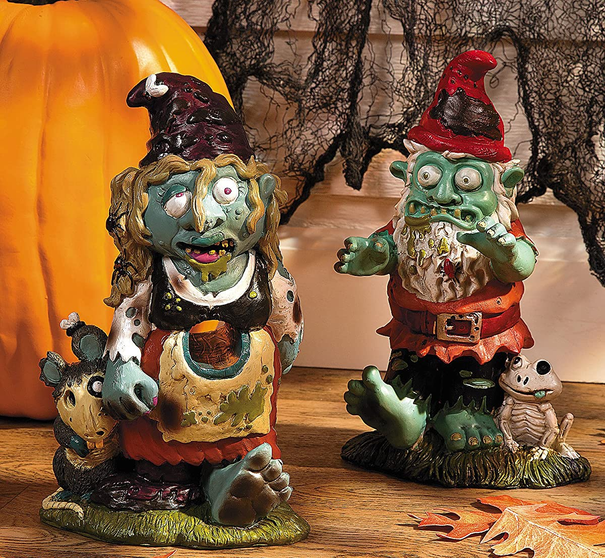 Zombie Boy & Girl Gnome Set - Halloween & Outdoor Decor