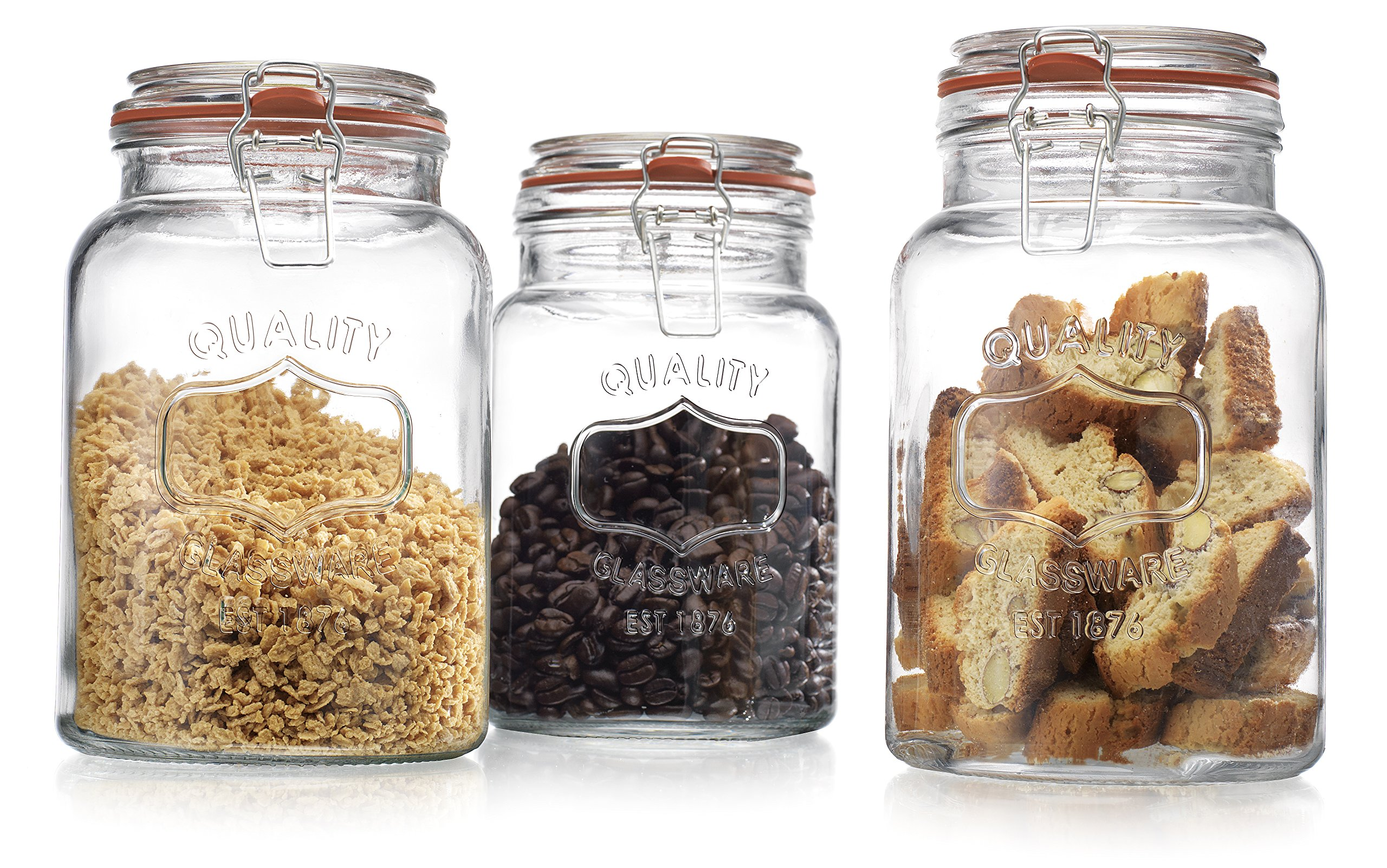 Glass canister quality set of 3 clear round jar with for Glass bathroom canisters