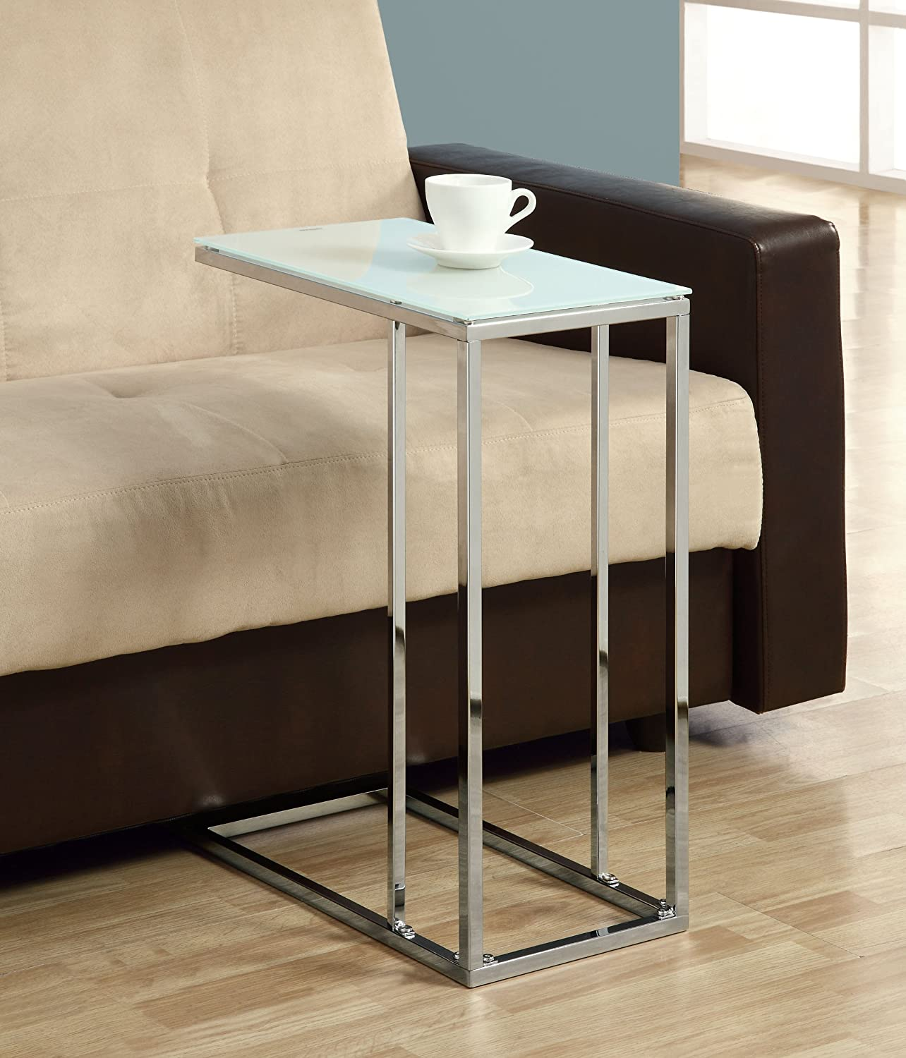 New Living Room Coffee End Table Slide Under Couch Side Metal Glass Top Chrome Ebay