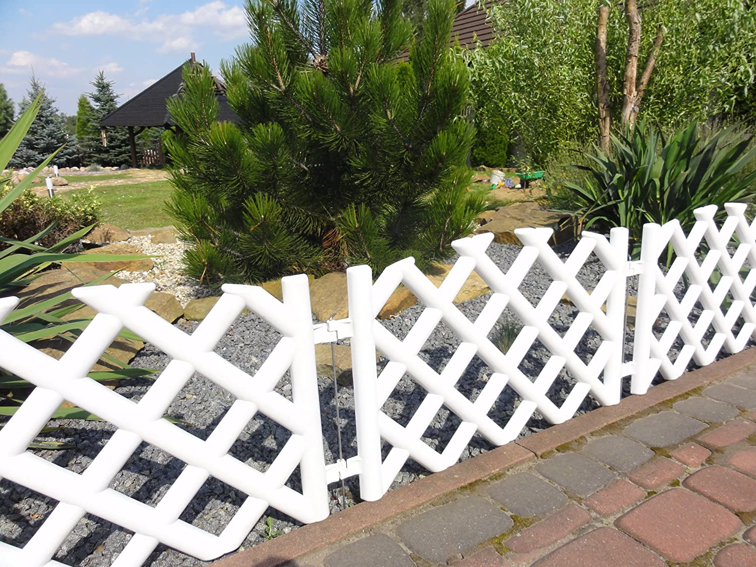 White garden picket fence m long plastic lawn