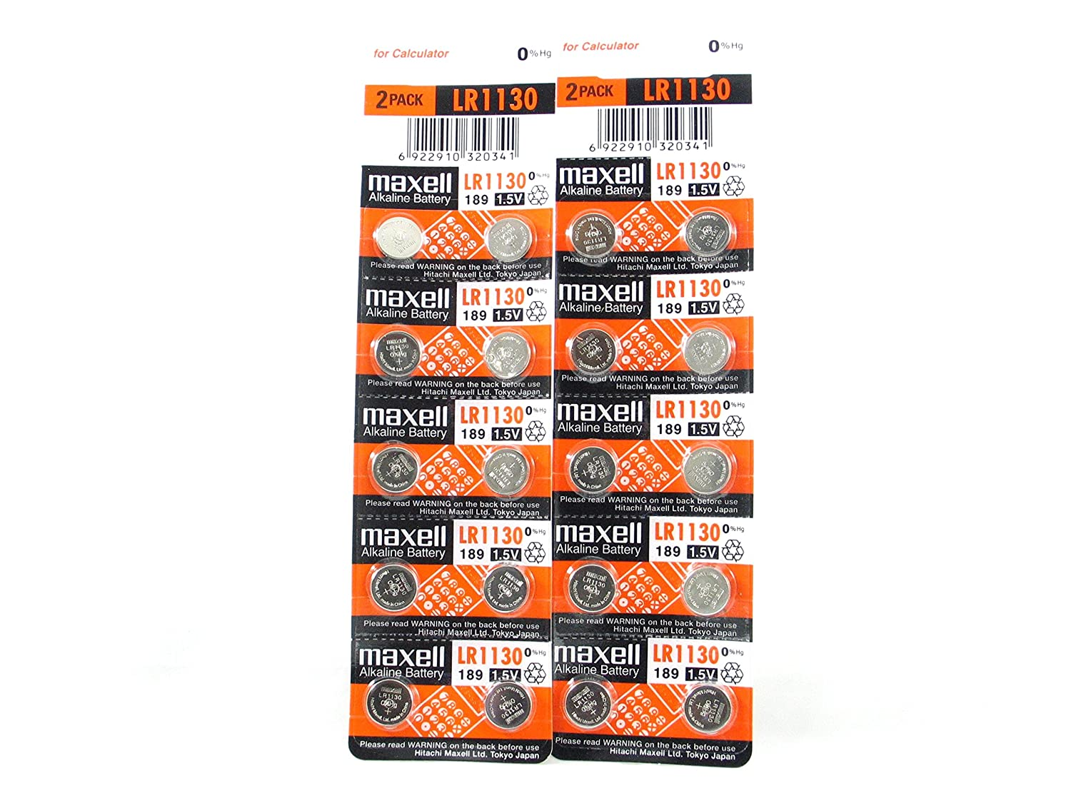 20 MAXELL LR1130 AG10 189 Button Alkaline Battery Expire Date 2019