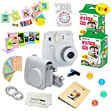 Fujifilm Instax Mini 9 Camera + Fuji INSTAX Instant Film (40 SHEETS) + 14 PC Instax Accessories kit Bundle, Includes; Instax Case + Album + Frames & Stickers + Lens Filters + MORE (Smokey White) (Color: Smokey White)