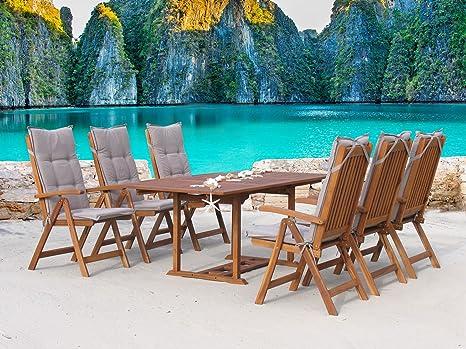 Garten Möbelgruppe Cuba 13tlg Sand mit ausziehbarem Tisch