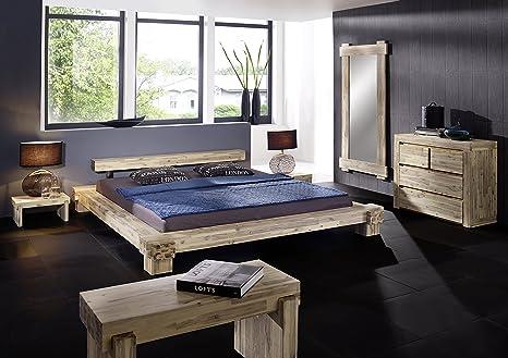SAM® Massivholz Bett Lolita 180 x 200 cm aus massiver Akazie weiß lasierte Oberfläche Balkenoptik Lieferung mit einer Spedition zerlegt