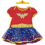 Warner Bros. Wonder Woman Newborn Infant Baby Girls' Costume Bodysuit Dress With Gold Tiara Headband and Cape, Red (6-9 Months) (Color: Red, Blue and Gold, Tamaño: 6-9M)