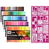 RIANCY Dual Tip Art Markers with Journal Stencil, 100 Assorted Colors, 0.4mm Fine Tip and Brush Tip for Fine Art, Brush Lettering, Faux Calligraphy, Water Color Illustrations (100 Colors) (Color: 100 Colors)
