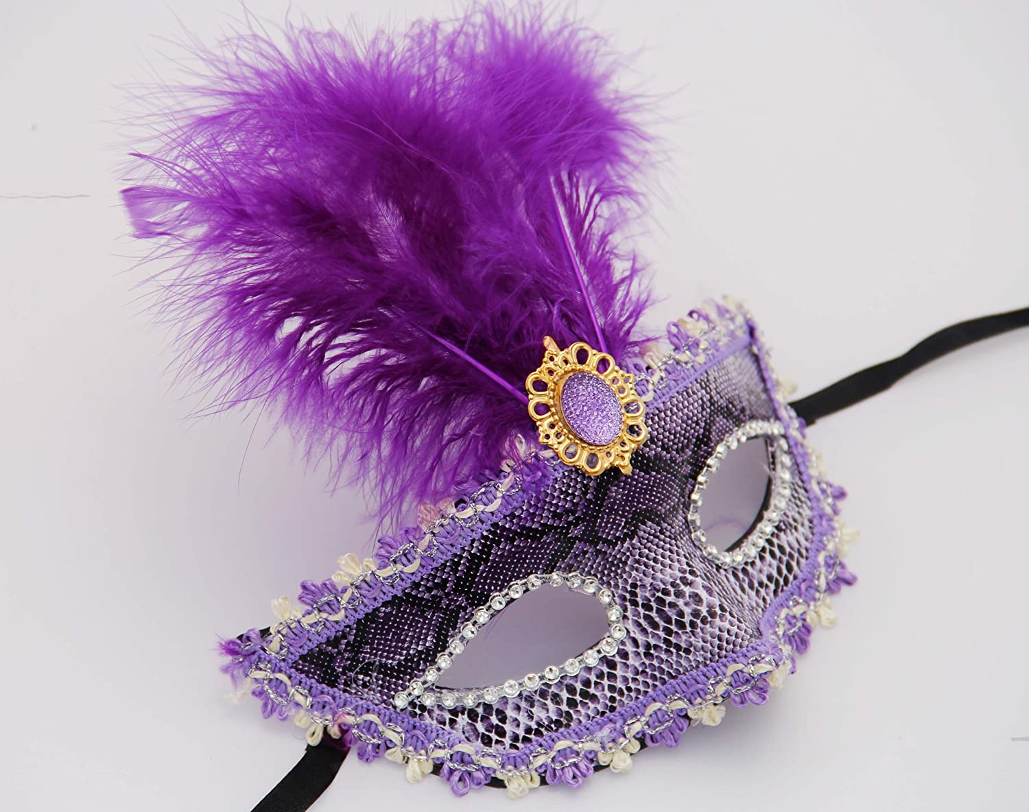 MegaShopping Party Eye Purple Mask Costume Masquerade Night Out with Feather Decoration
