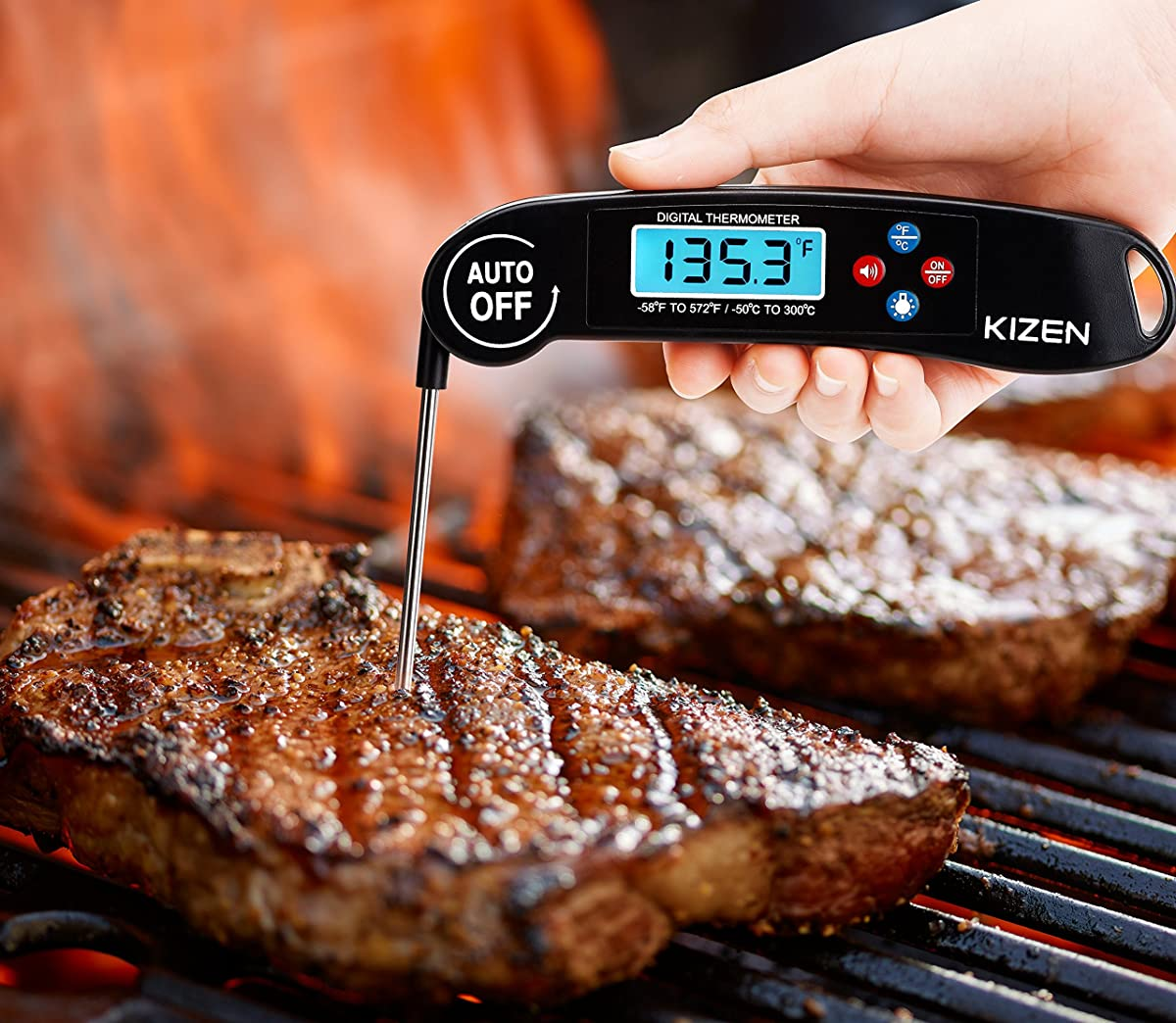 Kizen Digital Meat & Cooking Thermometer - Instant Read, Talking, Back Light, Collapsible Probe, Auto-off. Comes in Premium Gift Box, with eCookbook. For Food, Kitchen, BBQ, Grill! (Black)