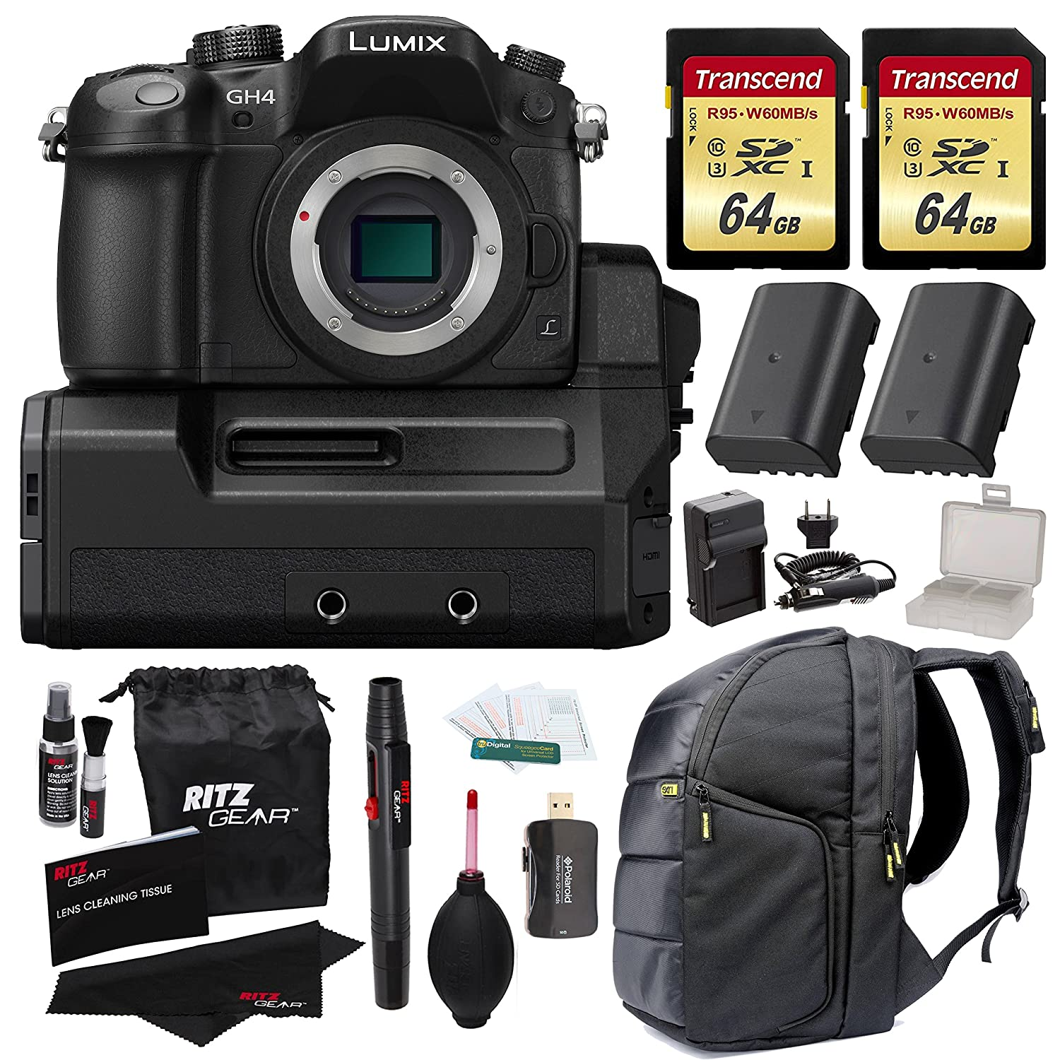 Panasonic Lumix DMC-GH4 Mirrorless MIcro 4/3 Digital Camera with DMW-YAGH 4K Video Interface Compact System +2x Transcend 64GB U3 + 2 Batteries + Full Size Backpack + Charger + Premium Accessory Kit
