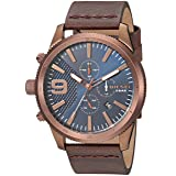Diesel Men's 'Rasp Chrono 46' Quartz Stainless Steel and Leather Casual Watch, Color:Brown (Model: DZ4455) (Color: Brown, Tamaño: One Size)