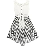 Sunny Fashion HD35 Girls Dress Lace to Chiffon Striped Black White Tied Waist Size 14 (Color: Black, Tamaño: 14)
