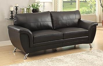 Homelegance Chaska Sofa in Black Leather