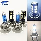 2 Pair H7 White 100W Halogen H7 Bright Chip 30 LED Xenon Light Lamp Headlight Bulb (High/Low Beam) Hi/Lo Stock Replace