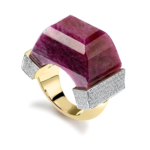 Jade Jagger Never Ending  Ruby and Diamond Pave 14ct Gold Large Ring