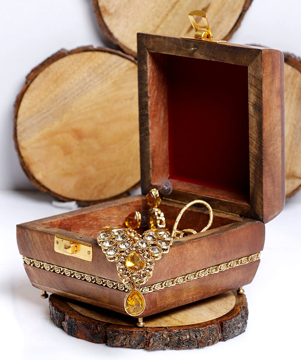 "GoCraft Wooden Jewelry Box Keepsake Organizer - Handmade with elegant Brass metal design - 4"" X 4"""