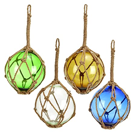 Benzara 71581 Glass Float with Rope, White, Blue, Green and Yellow