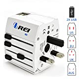 Universal Travel Adapter OREI All in One International Power Adapter with 2.4A Dual USB, European Adapter Travel Power Adapter Wall Charger for UK, EU, AU, Asia Covers 150+ Countries (Color: White, Tamaño: Small)