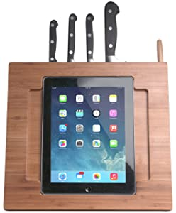 CTA Digital Bamboo Adjustable Stand Holder with Built in Knife Storage and Stylus for iPad 2/3/Air   BrownCustomer reviews and more news
