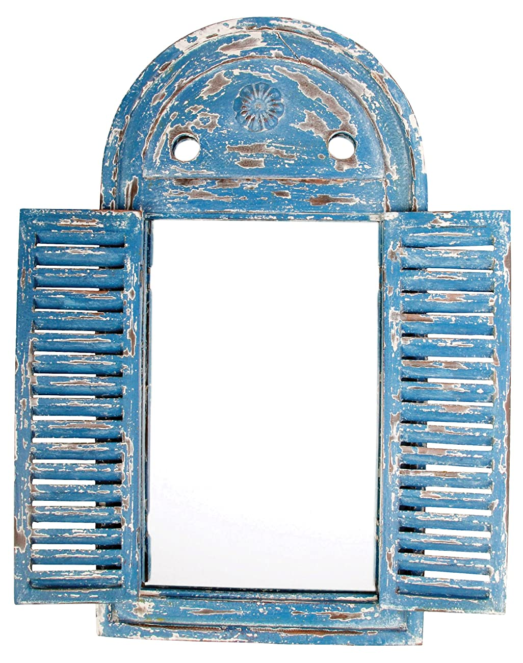 Esschert Design WD13 Mirror Louvre Distressed, Blue Finish 1