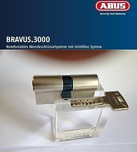 ABUS Bravus.3000 Sicherheits  Doppelzylinder mit 5 Schlüssel, Länge 40/50mm mit Sicherungskarte und höchstem Kopierschutz, Zusatzausstattung Not u. Gefahrenfunktion und erhöhter Bohr u. Ziehschutz BS01 (Ziehschutz nur kernbezogen)  BaumarktBewertungen