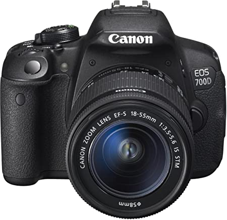 Canon 8596B028 EOS 700D 18MP Digital SLR Camera (Black) with 18-55 STM Lens, 4GB SD Card, Camera Bag at amazon