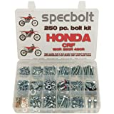 250pc Specbolt Honda CRF150 CRF250 CRF250 Bolt Kit Maintenance & Restoration of MX Dirtbike OEM Spec Fasteners CRF 150 250 450 (Color: BRILLIANT SILVER ZINC, Tamaño: 250 PIECES FACTORY SIZE HARDWARE)