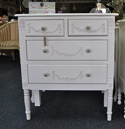 Shabby Chic Antique White Ornate Distressed 4 drawer Chest of Drawers