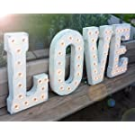 "LOVE - Large 21"" tall Rustic WHITE Vintage Inspired Metal Marquee Sign Light"