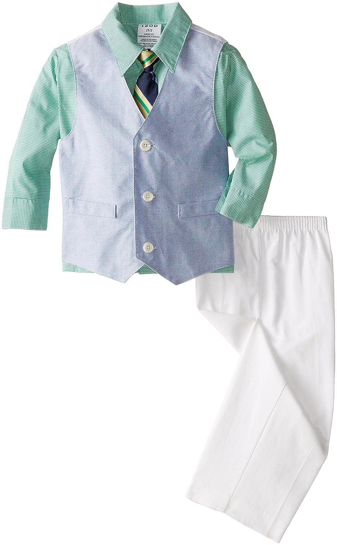 Izod Little Boys' Solid Oxford Vest Toddler Set 2 pcs baby boys suspender romper vest bow tie newborm formal suit infant spring clothes toddler wedding party costume hb3054