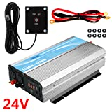 GIANDEL 1600W Power Inverter 24V DC to 120V AC with 20A Solar Charge Control and 2xAC 110-120V US Outlets and 1x2.4A USB and Remote Control